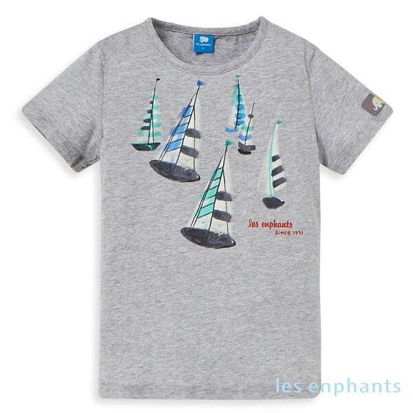 lesenphants夏日帆船圓領上衣-灰色