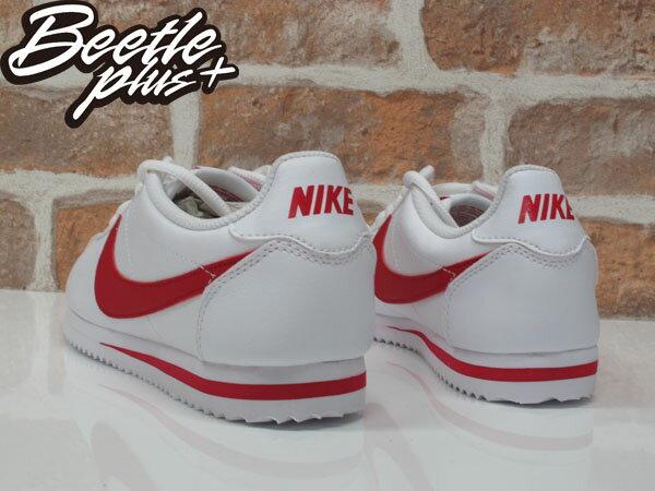 女生 BEETLE PLUS 現貨 NIKE CORTEZ (GS) 阿甘鞋 慢跑鞋 全白紅勾 白紅 復古 749482-103 D-586 2