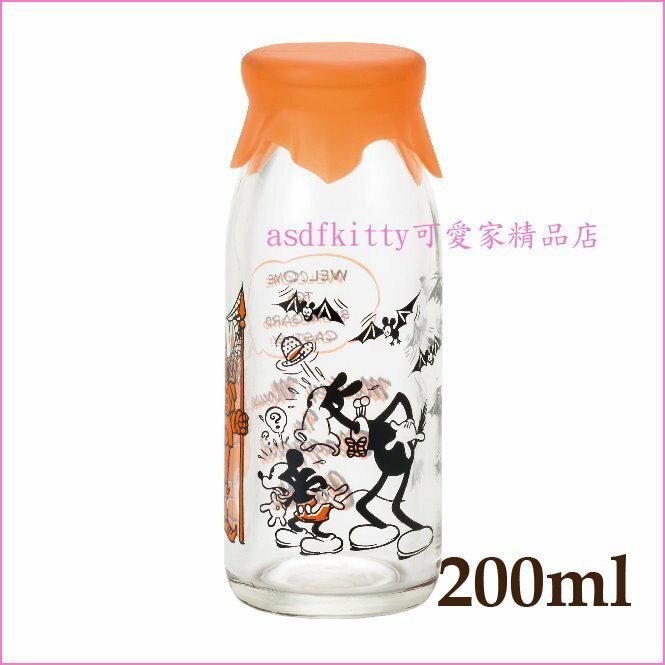asdfkitty可愛家☆日本石塚硝子迪士尼米奇橘矽膠蓋透明玻璃罐/牛奶瓶/保鮮罐/密封罐-200ML-日本製