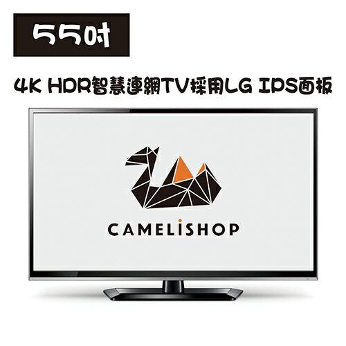 小駱駝商城 白牌電視 全新55吋4K HDR智慧連網TV採用LG IPS面板 可搭易播電視盒 EVBOX PLUS