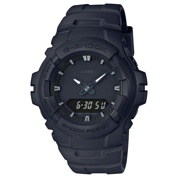 CASIO G-SHOCK AW-591BB-1A消光黑簡約雙顯時尚腕錶/黑面48mm
