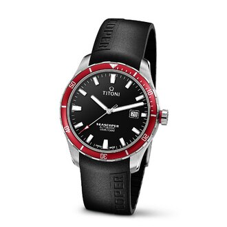 TITONI瑞士梅花錶83985SRB-RB-517 Seascoper系列專業潛水機械腕錶/黑面41mm