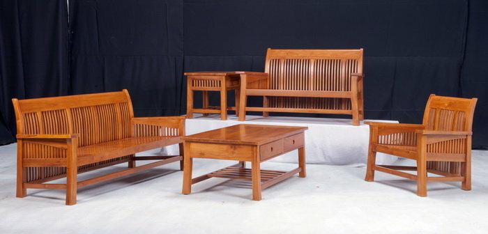 【石川家居】KL-11 柚木鄉村條狀組椅 台中以北搭配車趟免運費