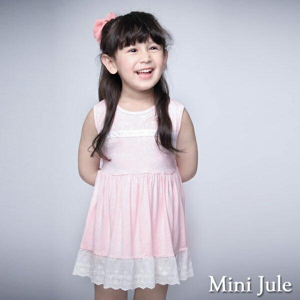 《MiniJule童裝》洋裝小白花拼接布蕾絲綁帶無袖洋裝(粉)