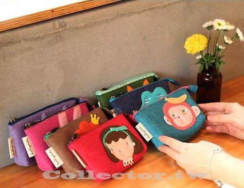 【G13102801】韓國 可愛動物毛氈零錢包 手機包 數位相機包 化妝包 收納包