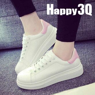純色厚底松糕鞋小白鞋休閒鞋-黑/金/粉/綠35-40【AAA0205】