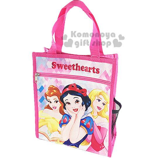 〔小禮堂〕迪士尼 公主 直式手提便當袋《粉.菱格紋》輕巧好攜帶