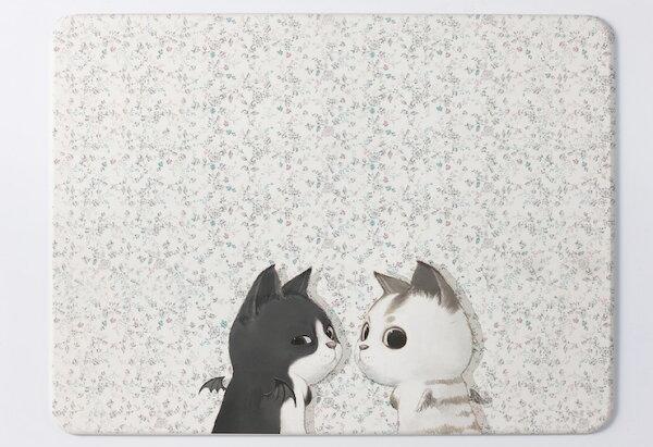 足吸珪藻土浴墊:【台灣製】足吸彩繪(黑白貓)珪藻土浴墊.吸水.地墊(小尺寸450x300mm)
