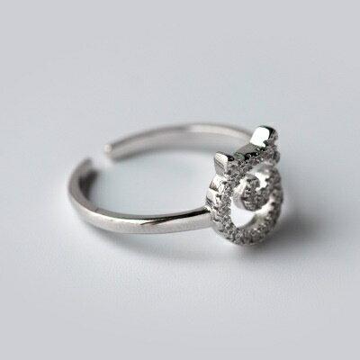~925純銀戒指鑲鑽開口戒~ 風格奢華大方七夕情人節 女飾品73dt273~ ~~米蘭 ~