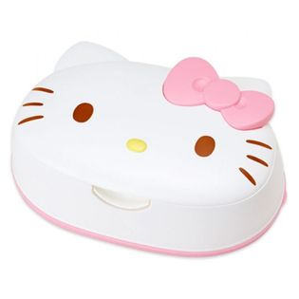 〔小禮堂〕Hello Kitty 日製造型濕紙巾盒《白.蝴蝶結.大臉型》內附80抽玻尿酸濕紙巾