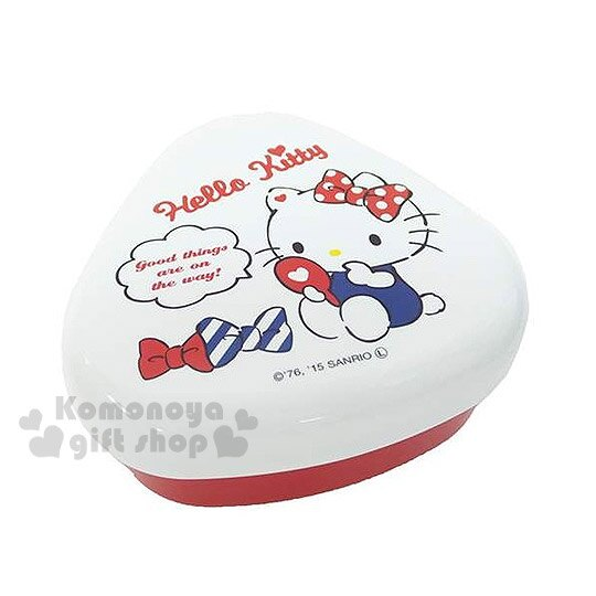 〔小禮堂〕Hello Kitty 日製三角飯糰便當盒《紅白.三角型.坐姿.照鏡子》創意便當輕鬆做