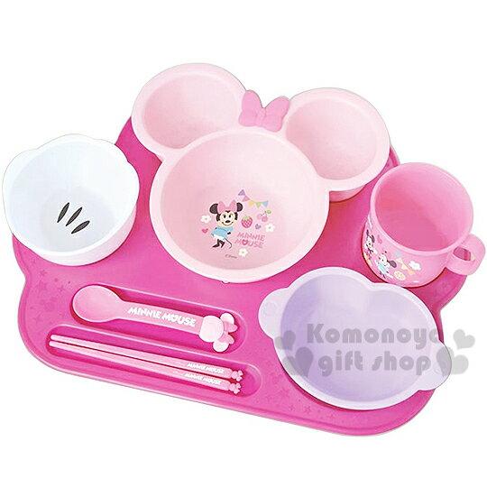 〔小禮堂嬰幼館〕迪士尼 米妮 日製嬰兒餐具禮盒《粉.大臉.花.7件組》