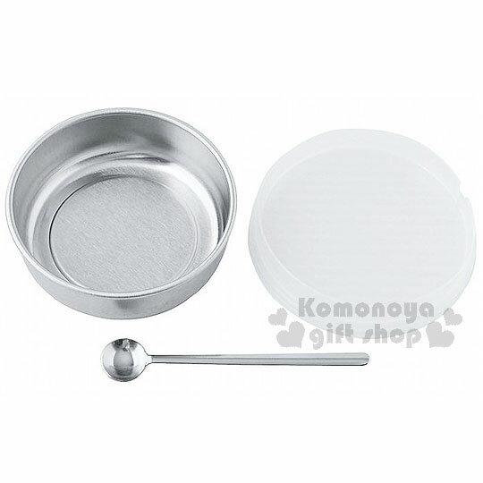 〔小禮堂〕 日製圓型不鏽鋼密封罐《銀.透明蓋.附小湯匙》