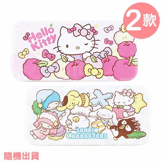〔小禮堂〕Sanrio大集合 鐵製筆盒~2款. 出貨.雙層.粉  淡藍.蘋果.眨眼  睡姿