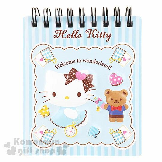 〔小禮堂〕Hello Kitty 線圈立體筆記本《藍直條.迷你.坐姿.小熊.撲克牌》