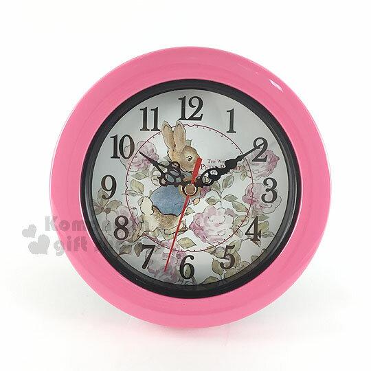 〔小禮堂〕彼得兔 圓形兩用座掛鐘《粉.玫瑰.走姿》兩用鐘輕巧可愛