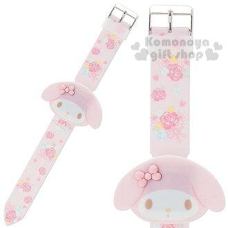 〔小禮堂〕美樂蒂 造型矽膠成人電子錶《粉.大臉.花朵.泡殼裝》LED顯示燈效