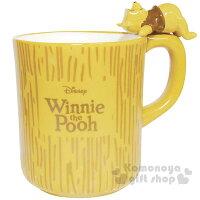 小熊維尼周邊商品推薦〔小禮堂〕迪士尼 小熊維尼 馬克杯《黃.咖啡字.小熊維尼造型手把》