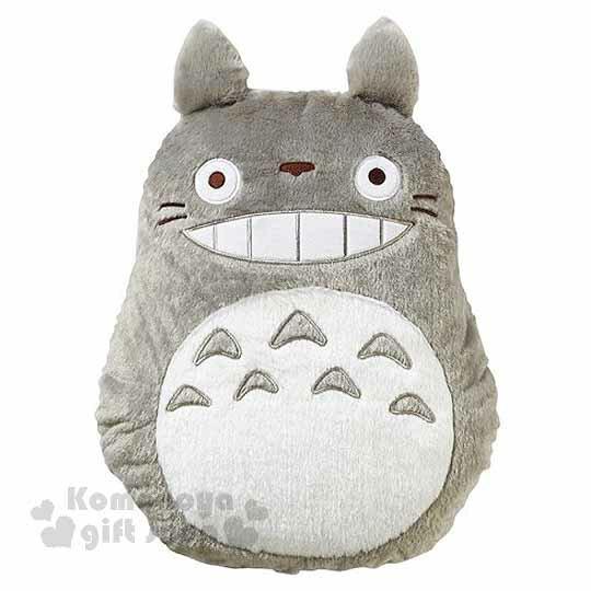 〔小禮堂〕宮崎駿 Totoro龍貓 造型絨毛抱枕 《灰.露齒笑》