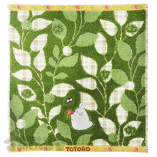 〔小禮堂〕宮崎駿 Totoro龍貓 方型毛巾《綠.格紋.綠葉.草莓.坐姿.34x36cm》日本丸真系列