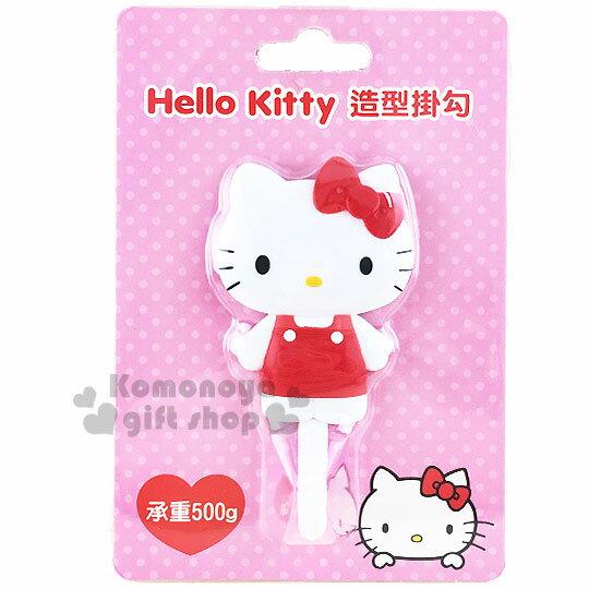 〔小禮堂〕Hello Kitty 貼式造型掛勾《紅.站姿.泡殼》耐重500g 0