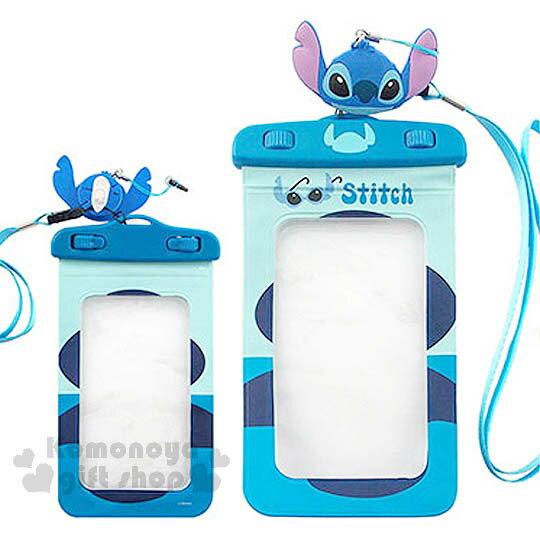〔小禮堂〕迪士尼 史迪奇 防水手機袋《藍.造型耳機塞》