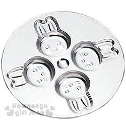 〔小禮堂〕日製不鏽鋼巧克力壓模《4格.圓盤.銀.兔子》