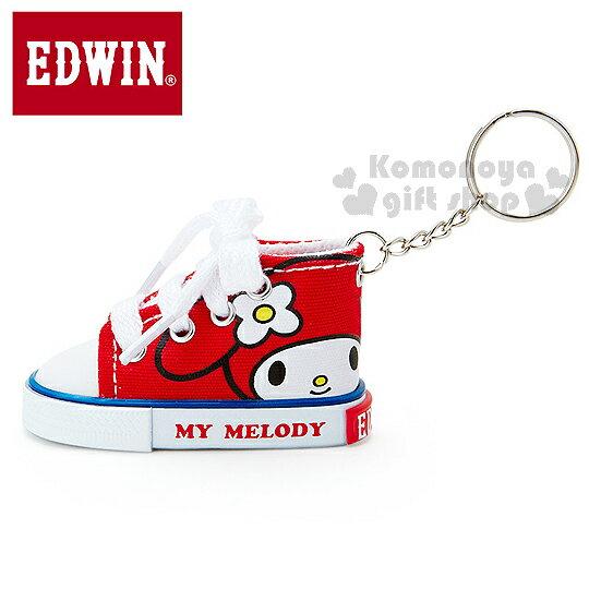 〔小禮堂〕EDWIN x 美樂蒂 丹寧帆布鞋造型鑰匙圈《紅.大臉》EDWIN聯名系列