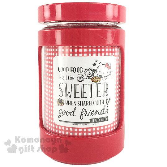 〔小禮堂〕Hello Kitty 玻璃收納罐~紅.格紋.600ml~