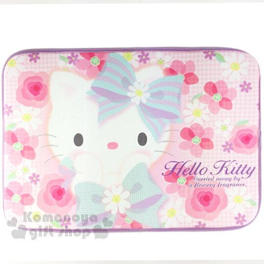 〔小禮堂〕Hello Kitty 腳踏墊《花朵.捧臉.藍蝴蝶結.45x65cm》止滑.海棉軟墊