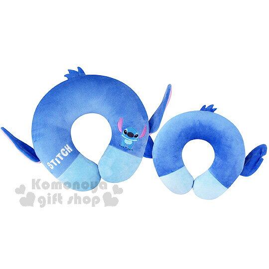 〔小禮堂〕迪士尼 史迪奇 絨毛造型頸枕《藍.U型》旅行.汽車室內兼用