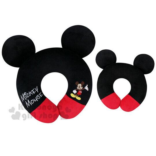 〔小禮堂〕迪士尼 米奇 絨毛造型頸枕《黑紅.U型》旅行.汽車室內兼用