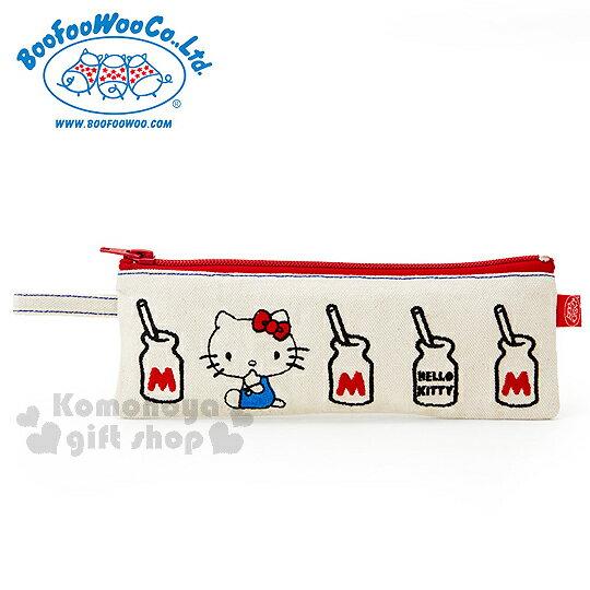 〔小禮堂〕Hello KittyxBoo Foo Woo 帆布扁平筆袋《米.摸臉.牛奶罐》
