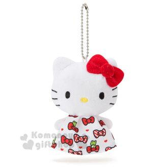 〔小禮堂〕Hello Kitty 絨毛娃娃吊飾《白.大臉.蝴蝶結拼布》晴天娃娃