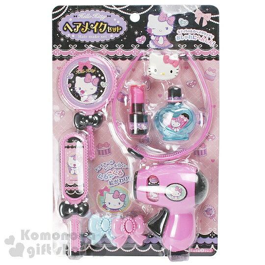 〔小禮堂嬰幼館〕Hello Kitty 夢幻寶石梳妝組玩具《粉黑.髮箍.香水瓶.吹風機》適合3歲以上孩童