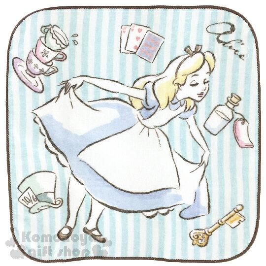 〔小禮堂〕迪士尼 愛麗絲 圓角小方巾《藍白條紋.拉裙擺.25x25cm》日本內野Uchino