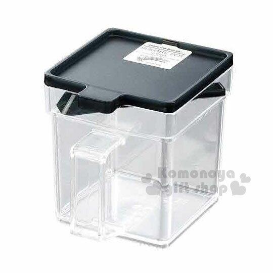 〔小禮堂〕日本INOMATA 日製透明調味盒《黑.透明.方形.400ml》附匙