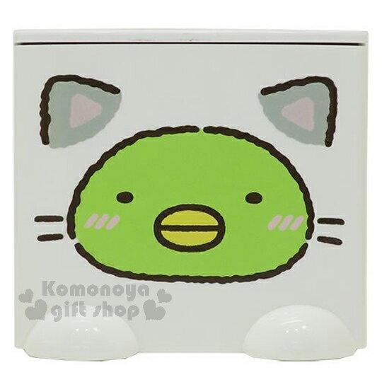 〔小禮堂〕角落生物 企鵝 桌上單抽積木收納盒《白.貓裝.綠臉》可多個推疊