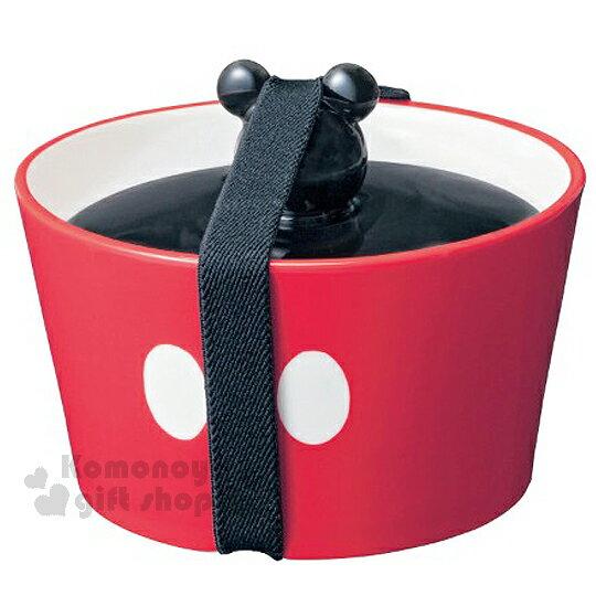 〔小禮堂〕迪士尼 米奇 Mickey 造型陶瓷醃漬盒《紅黑.大臉.紅褲》可愛造型