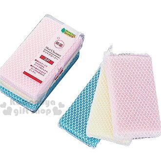 〔小禮堂〕Net Cleaner 抗菌網清潔海綿《黃藍粉.3入.方型》天然抗菌成分 超細纖維