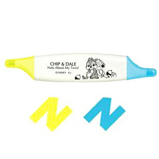 〔小禮堂〕迪士尼 奇奇蒂蒂 扁形雙頭螢光筆《黃藍.坐姿》劃筆記重點