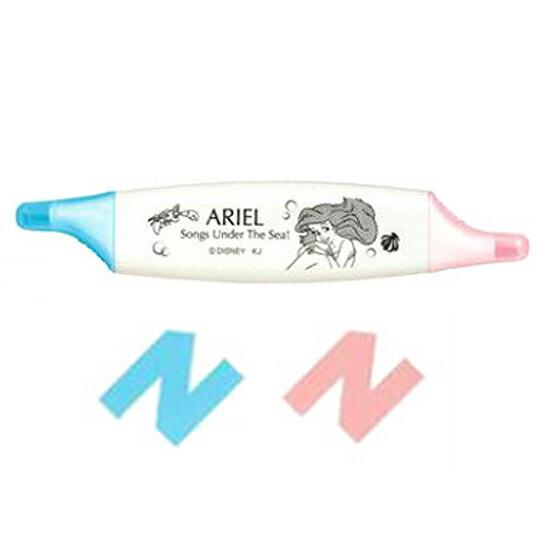 〔小禮堂〕迪士尼 小美人魚 愛麗兒 扁形雙頭螢光筆《粉藍.賽巴斯汀》劃筆記重點