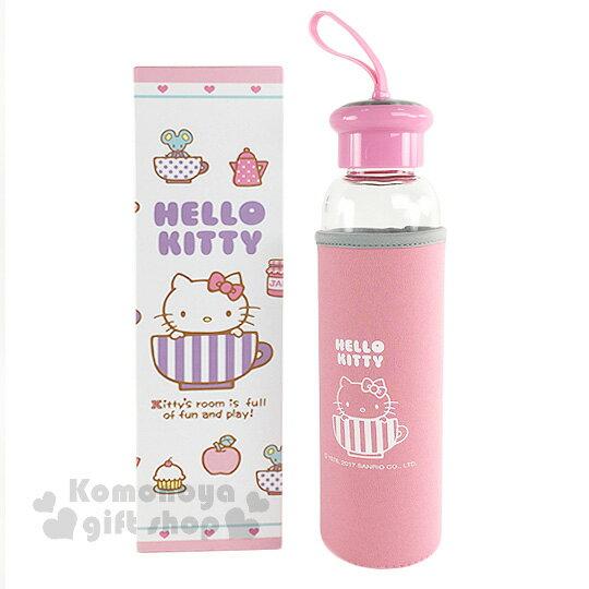 〔小禮堂〕HelloKitty玻璃水瓶《透明.茶杯.大臉.果醬.500ml》附潛水布套