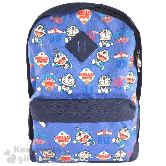 〔小禮堂〕哆啦A夢 帆布後背包《深藍.鈴鐺.多動作.滿版》