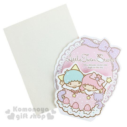 〔小禮堂〕雙子星 造型萬用卡片《迷你.蕾絲花邊.紫色小熊》附信封