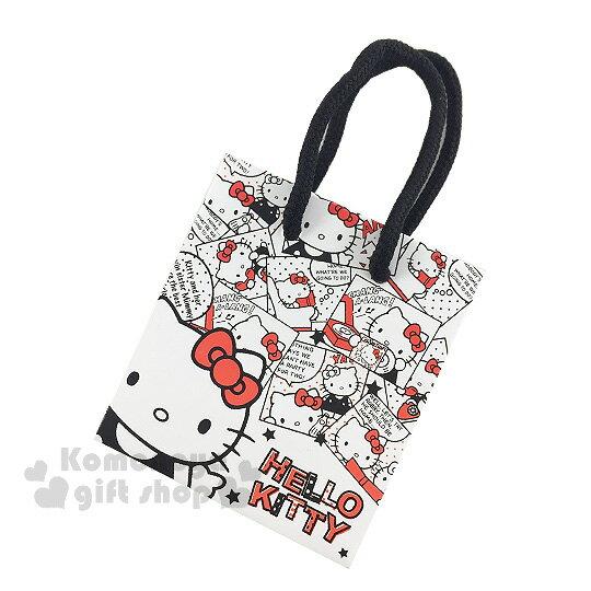 〔小禮堂〕Hello Kitty 紙袋《ss.白.漫畫格.大臉.星星》送禮包裝