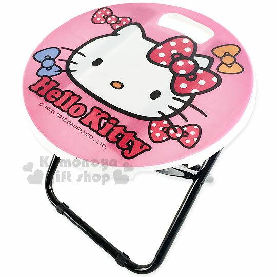 〔小禮堂〕Hello Kitty 折疊椅~螢光粉.大臉.點點蝴蝶結.圓型~可折疊收納