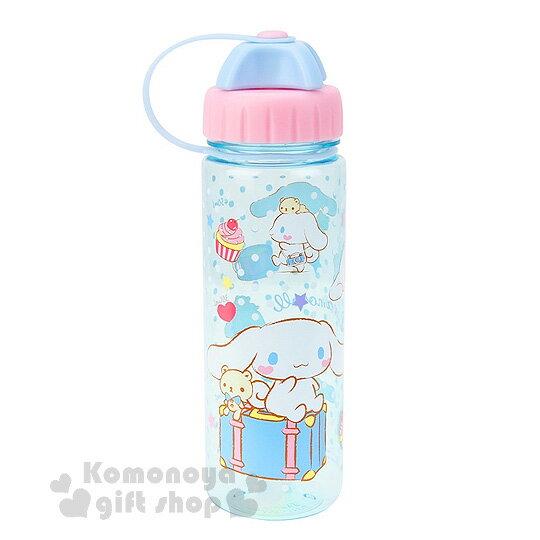 〔小禮堂〕大耳狗 隨身冷水瓶《透明.粉藍蓋.坐姿.行李箱.450ml》