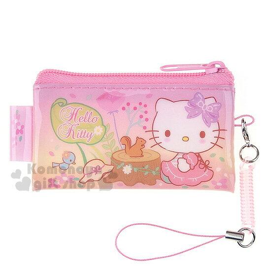 〔小禮堂〕Hello Kitty 拉鍊零錢包《迷你.粉.側坐.松鼠.紫蝴蝶結》附伸縮吊飾繩