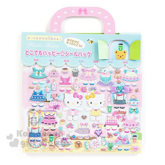 〔小禮堂〕Hello Kitty 紙娃娃貼紙組合《粉綠.窗戶紙卡.蜜蜂》附提袋